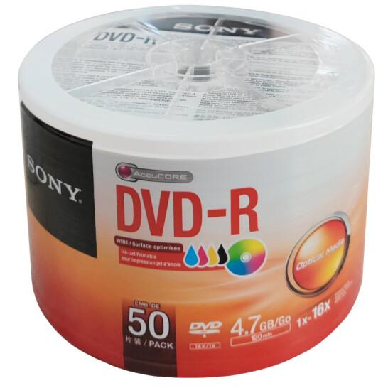 索尼(SONY)DVD-R 光盘/刻录盘 16速4.7G 桶装50片 空白光盘